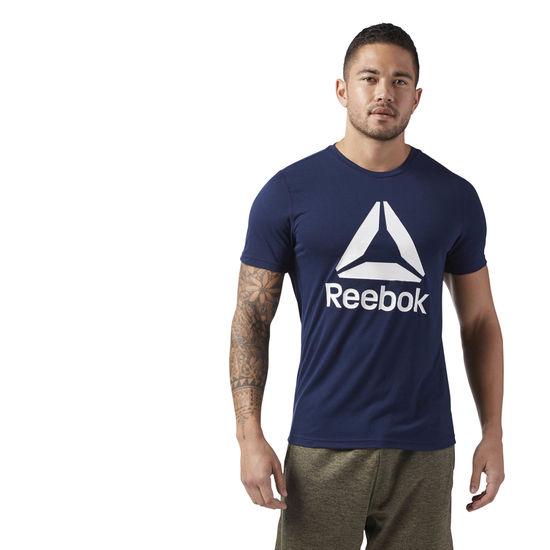 REEBOK男裝短袖訓練吸濕排汗乾爽基本款RBLOGO藍白【運動世界】CE3841
