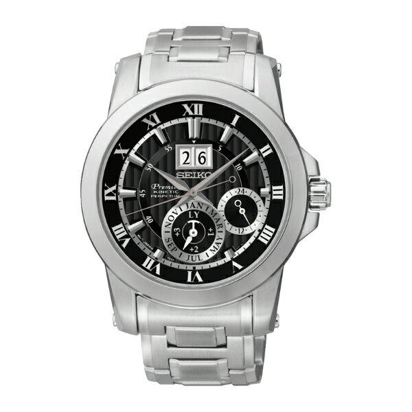 Seiko Premier 7D56-0AB0D(SNP093J1)人動電能萬年曆大視窗日期經典腕錶/黑面41mm