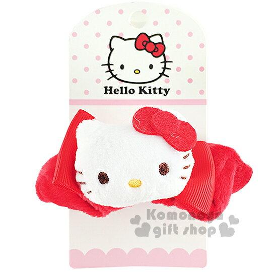 〔小禮堂〕Hello KItty 絨毛造型髮圈《紅.立體大臉蝴蝶結》也可當可愛手環
