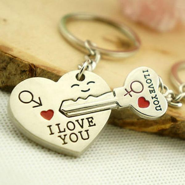 1 Pair Alloy Couple Keychain Valentine's day Gift Heart Shape Key Decor Sets 1