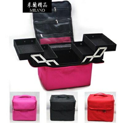 化妝箱 隨身收納盒 -多隔層帆布可手提美妝美甲專業工具箱4色73d34【獨家進口】【米蘭精品】