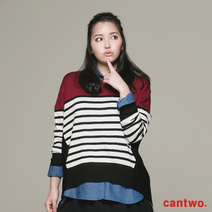cantwo條紋拼接長袖針織上衣(共二色) 1