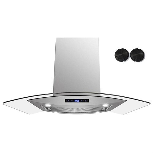"AKDY 30"" AK-688ICS14-75CF Stainless Steel Island Range Hood Carbon Filter Included For Ventless/Ductless Options 0"