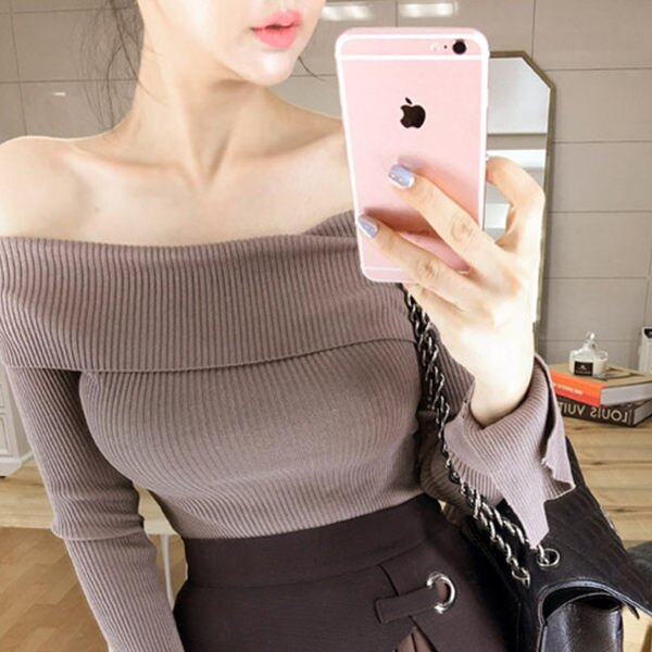 PS Mall 一字領純色顯瘦喇叭袖修身針織衫 上衣【T1629】