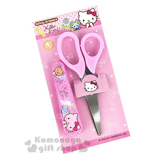 〔小禮堂〕Hello Kitty 附蓋安全剪刀《粉.糖果.小熊老鼠》適用六歲以上學童