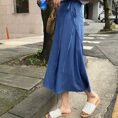 韓系女裝中長款高腰輕柔棉麻半身裙長裙樂天時尚館。預購
