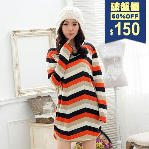 四色橘彩橫條寬鬆法國絨下襬抓皺上衣 長T 包飾衣院 Y1106