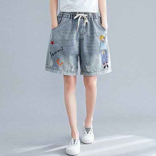 復古刺繡破洞牛仔短褲(淺藍色M~3XL) 【OREAD】 - 限時優惠好康折扣