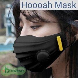 【淘氣寶寶】愛兒房 韓國 抗PM2.5 Hoooah守護神3D Sport運動型2Valve無毒雙層防護口罩-黑色 (防護面罩+5入補充濾材)