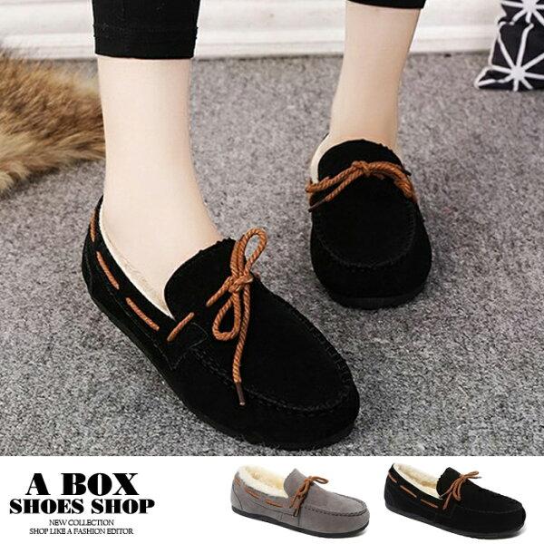 【ANF577】冬季加絨保暖內舖毛絨面套腳懶人鞋平底圓頭包鞋雪地鞋2色