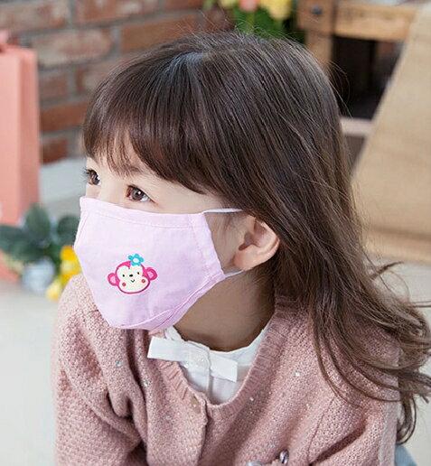 Lemonkid◆可愛純色小花猴子活性炭PM2.5防護舒棉防塵口罩-粉色