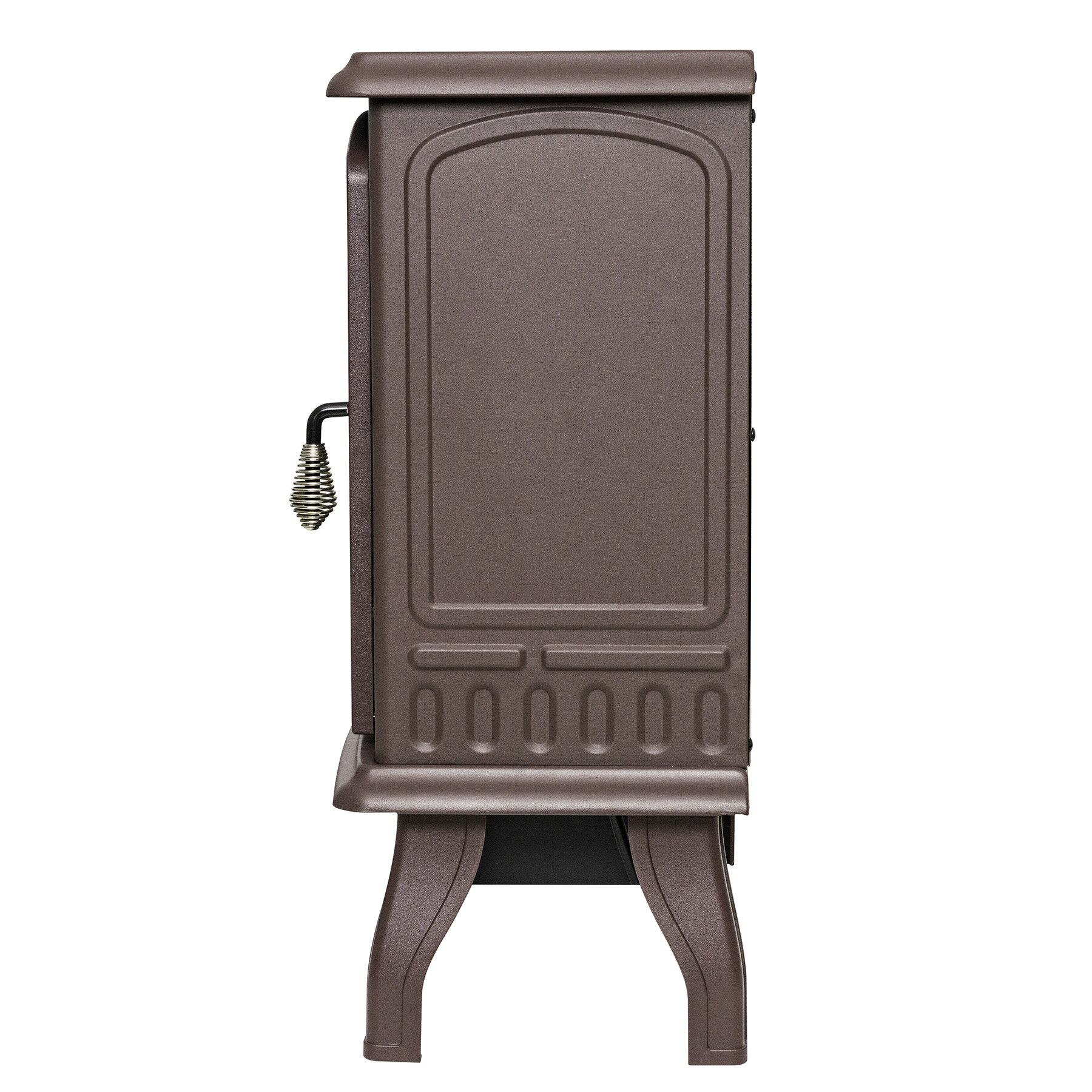 "AKDY 20"" Brown Finish Freestanding Portable Electric Fireplace Firebox w/ Log Heater 4"