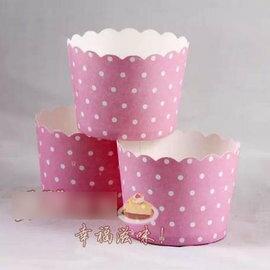 【蛋糕紙杯-圓點粉紅色-小號-4包/組】馬芬杯 烘焙工具 戚風蛋糕模具 (上下直徑6~5*高4.5cm) 50個/包,4包/組(可選花色)-8001002