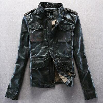 真皮皮衣  男外套-短款迷彩肩章立領牛皮女機車夾克2款72ae49【義大利進口】【米蘭精品】