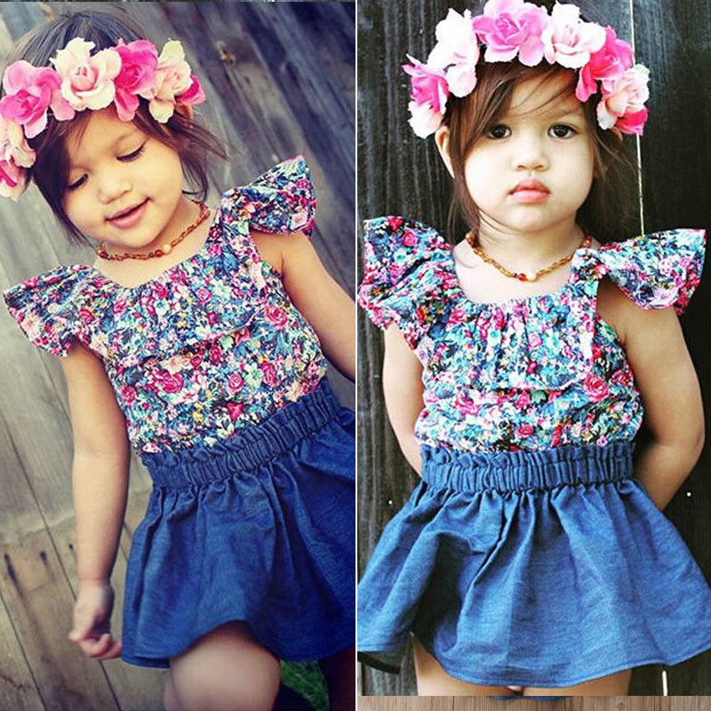 ccbbcb030 Toddler Kids Baby Girls Outfits Clothes T-shirt Tops+Tutu Dress Skirt 2PCS  Sets
