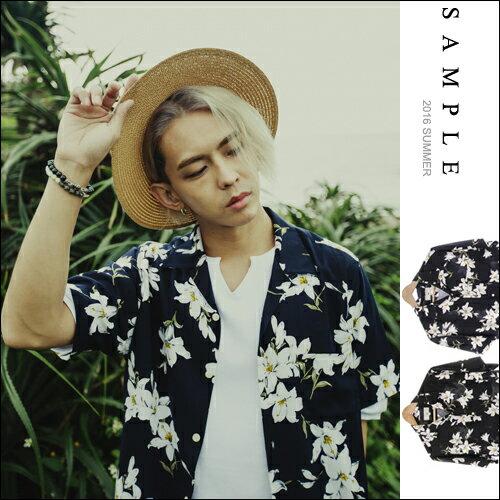 現貨 韓國製 短袖襯衫 滿版花朵南洋風【ST16408】- SAMPLE
