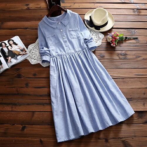 森女系條紋襯衣領長袖連身裙(藍色S~2XL)【OREAD】 - 限時優惠好康折扣
