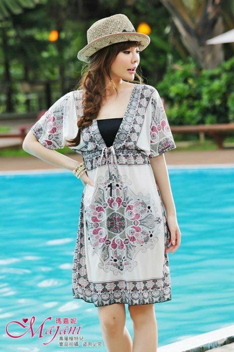 [瑪嘉妮Majani] 日系中大尺碼泳衣泳裝配件 -大尺碼  超顯瘦 比基尼外罩衫 特349 可超取付 bs-053