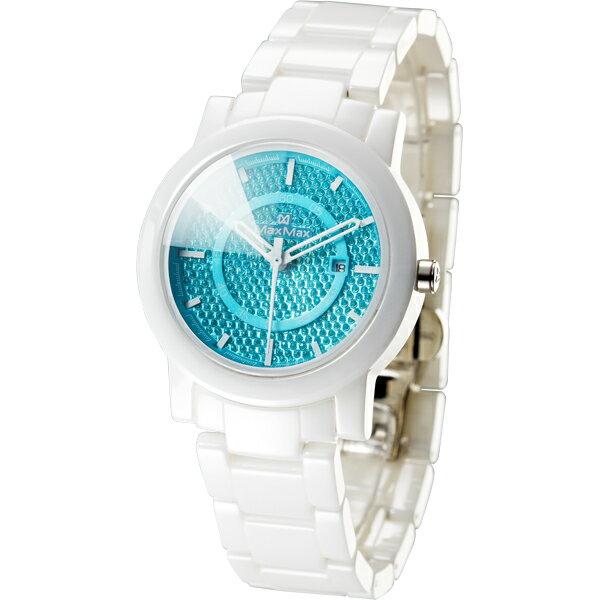 Max Max MAS5080M-3耀光類鑽切割鏡面時尚陶瓷腕錶/青藍面38mm