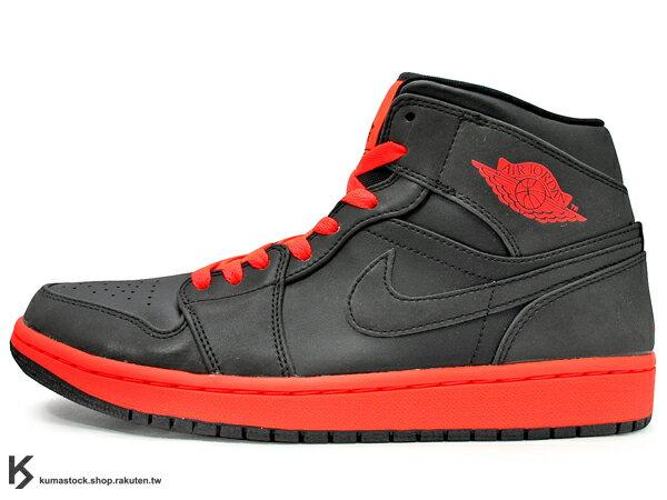 [24%OFF][28cm] 2014 經典重現 復刻鞋款 NIKE AIR JORDAN 1 MID INFRARED 23 男鞋 黑紅 3M 反光 鞋面 螢光紅 AJ 八孔 (554724-043..
