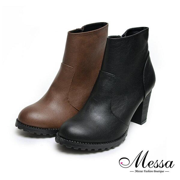 【Messa米莎專櫃女鞋】MIT素面簡約側拉鍊高跟踝靴-二色♣年末特殺熱銷款