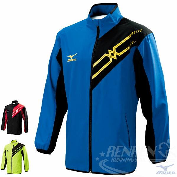 MIZUNO美津濃男運動外套(黑*藍)SlimFit合身版平織運動套裝(上衣)