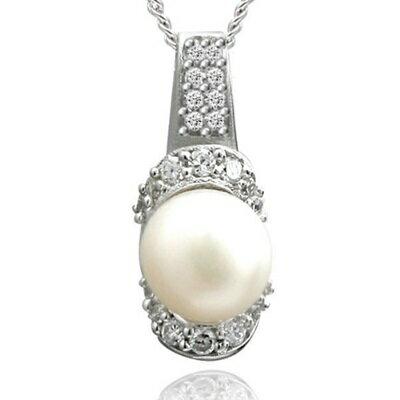 925純銀項鍊 珍珠吊墜~ 鑲鑽精美生日情人節 女飾品73dh11~ ~~米蘭 ~