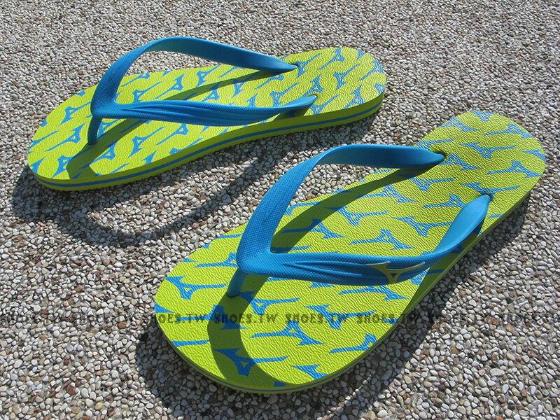 Shoestw~K1GS168145 ~MIZUNO 美津濃 夾腳拖鞋 海灘拖 人字 黃藍