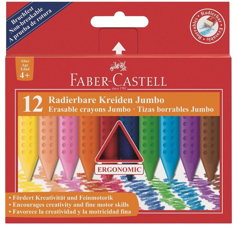 Faber~Castell 輝柏 握得住可擦拭12色三角粗芯蠟筆^(122540^)