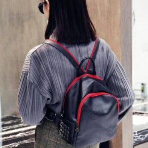 美麗大街【PSC16280020】新款PU皮壓花女士雙肩包樹葉圖案黑紅流行背包韓版旅行包