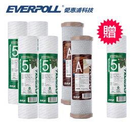 EVERPOLL愛惠浦科技 10英吋標準型CTO活性碳濾芯(EVB-C100A)+5微米PP濾芯(EVB-F105)[買6+送1]