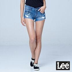 Lee 激瘦合身版黑白噴彩牛仔短褲-水洗藍-女短褲-LL18