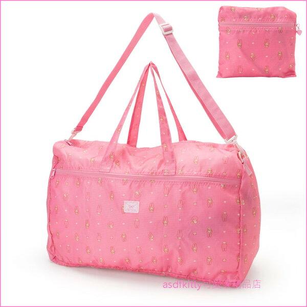 asdfkitty可愛家☆美樂蒂粉紅色信封行李箱拉桿手提袋斜背包可收納購物袋波士頓包-日本正版商品