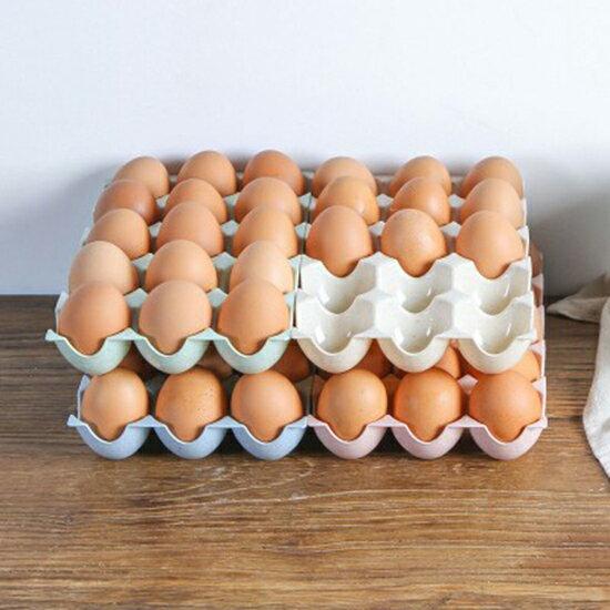 ●MY COLOR●小麥纖維雞蛋收納盒(15格) PP材質 冰箱 櫥櫃 保鮮盒 放雞蛋 盒子 雞蛋托 防破裂【N399】