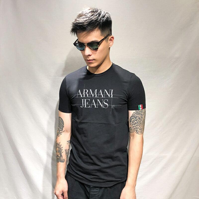 美國百分百【全新真品】Armani Jeans 短袖 AJ T恤 老鷹 logo T-shirt 黑色 S號 AH76