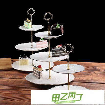點心盤下午茶點心架蛋糕歐式家用陶瓷雙層水果盤三層甜品臺零食托盤【快速出貨】創時代3C 交換禮物 送禮