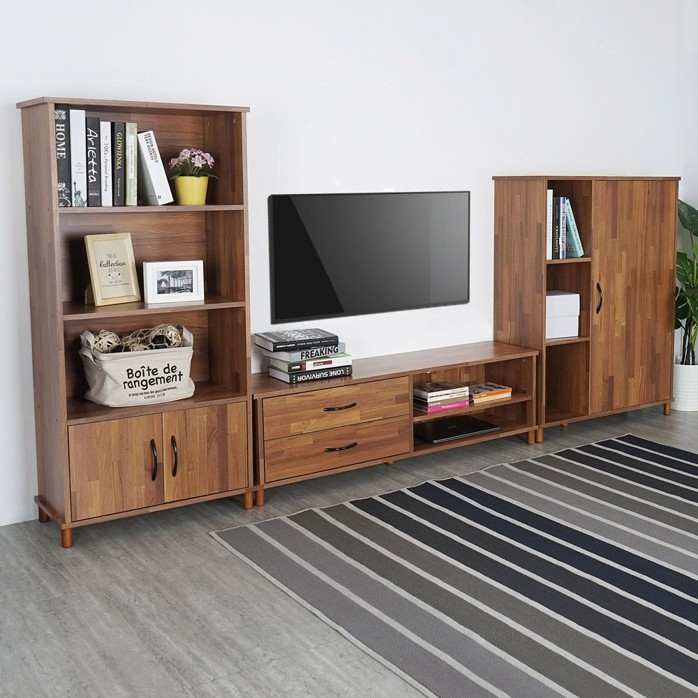 日和視廳三件組-柚木(電視櫃+二門櫃+鞋櫃) 客廳組合櫃 電視櫃組合【Yostyle】 - 限時優惠好康折扣