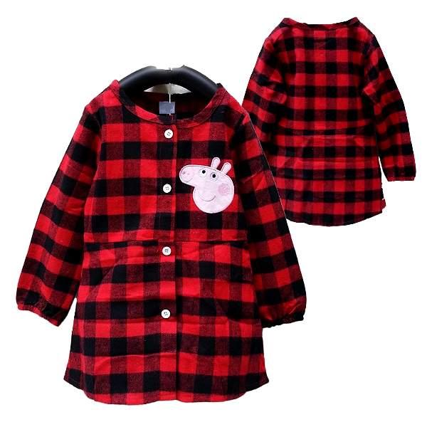 【班比納精品童裝】俏皮紅格粉紅小豬長版襯衫-紅【BO150807001】