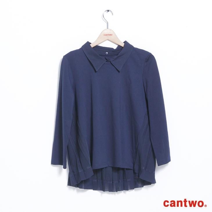 cantwo異素材拼接襯衫領長袖上衣(共二色) 7