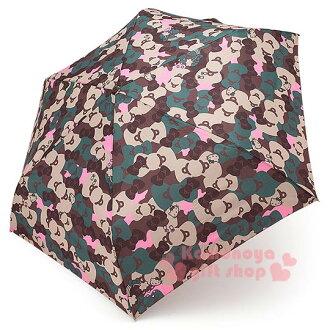 〔小禮堂〕Hello Kitty 彎把折疊雨陽傘《深綠.迷彩.大臉.緞帶滿版》攜帶方便折傘