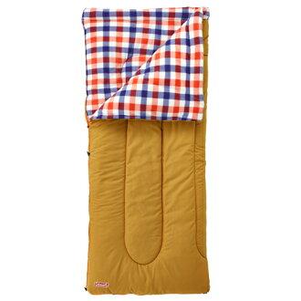 【露營趣】中和安坑 附手電筒 Coleman CM-26647  0℃紅格紋刷毛睡袋 信封型睡袋 化纖睡袋 纖維睡袋 可全開併接