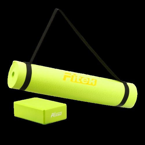 瑜珈套組-最新流行草木綠 Greenery/PANTONE草本綠 TPE瑜珈墊 EVA瑜珈磚 超值組【Fitek健身網】