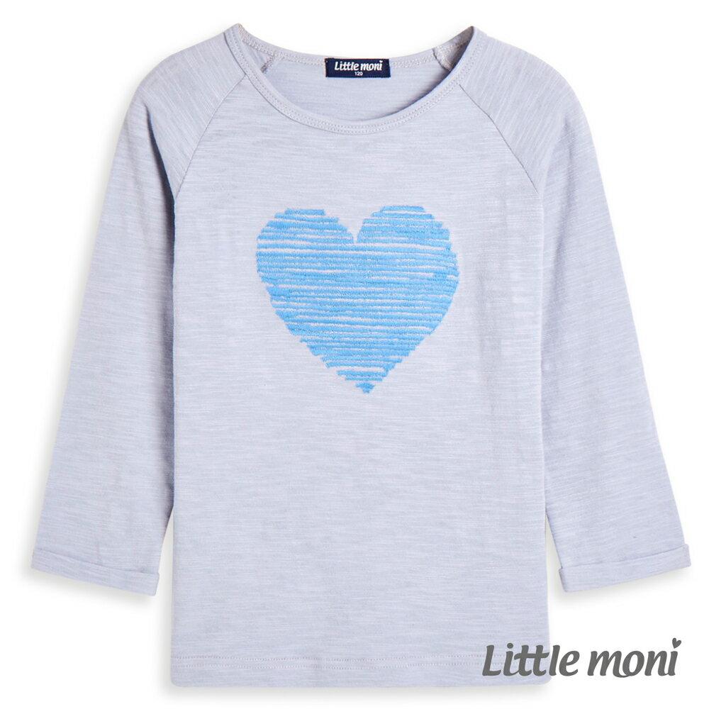 Little moni 愛心刺繡上衣-亮天藍