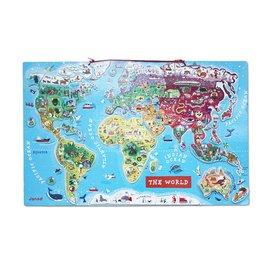【淘氣寶寶】法國 Janod 磁性木質拼圖-世界地圖-英文版│益智/拼圖/認知/教學教具