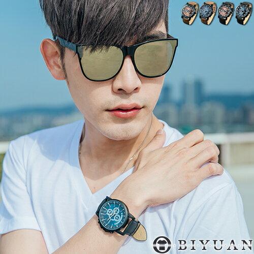 時尚手錶【Y322】OBIYUAN 簡約百搭夜光指針皮革錶帶 共4色