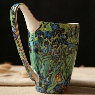 咖啡杯 彩繪馬克杯-梵谷名畫大容量陶瓷水杯3色72ax25【獨家進口】【米蘭精品】