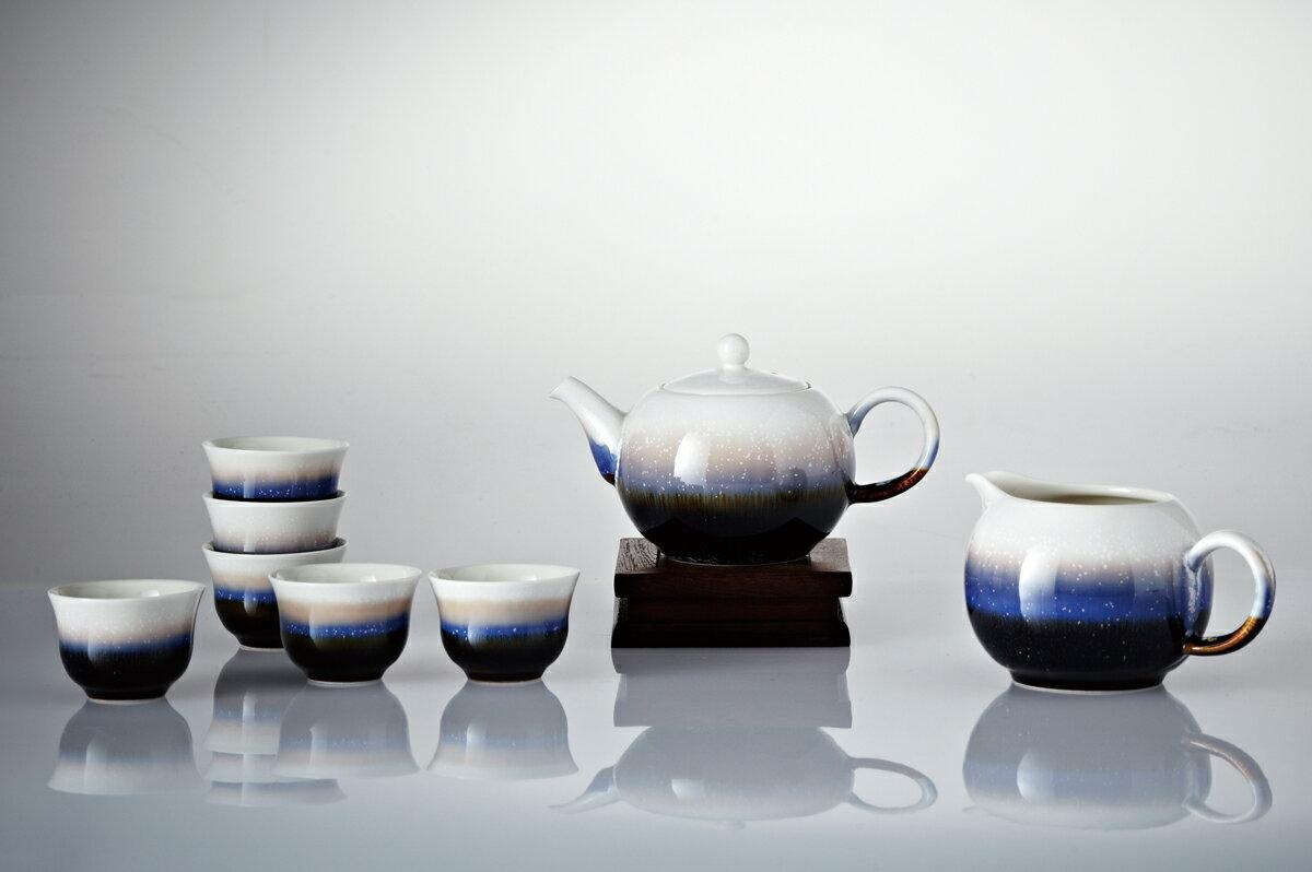 雪晶小圓融茶具組(一壺+六杯+茶海)(遠紅外線負離子健康禮品)