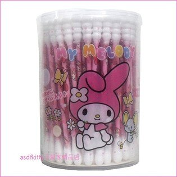 asdfkitty可愛家☆美樂蒂螺旋棉花棒100支含收納盒-日本正版商品