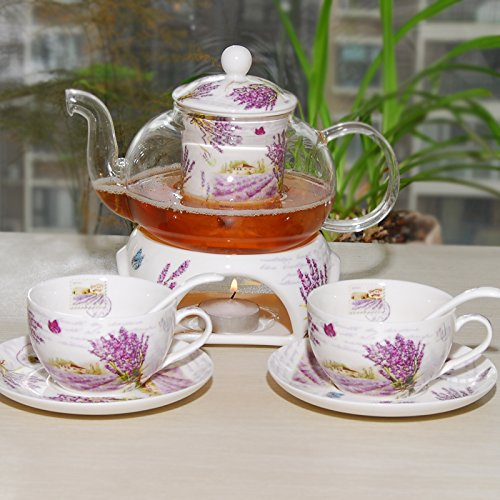 Kendal 24 oz tea maker teapot with a Porcelain warmer and 2 set of Porcelain Cup and Saucer and Spoon SI-XYC (3-XYC)