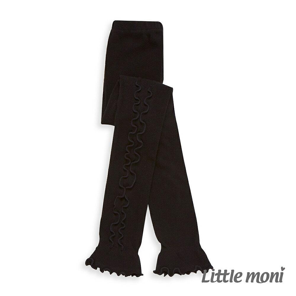 Little Moni 甜美滾邊九分褲襪-黑色